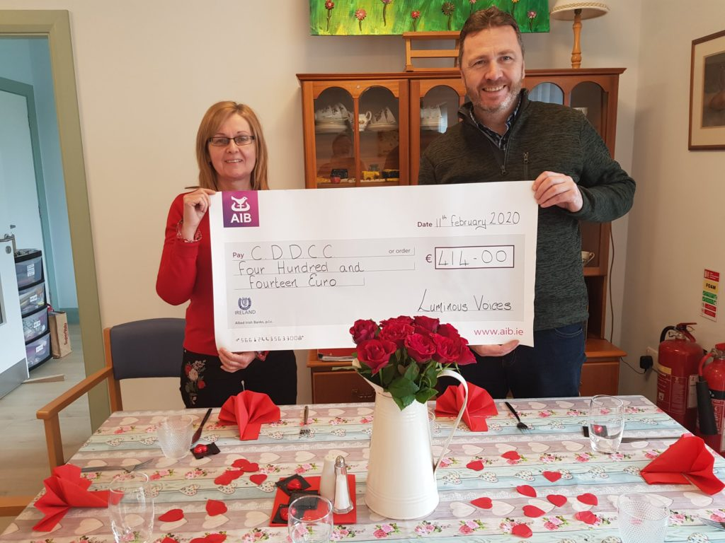 Here's Hilary (CDDCC & Luminous Voices) presenting the cheque to Joe. We were delighted to be able to raise €414 from this event.